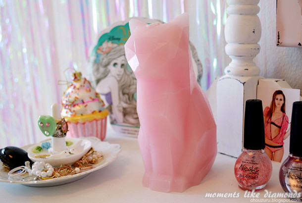jewels candle cats pink cats kawaii home accessory