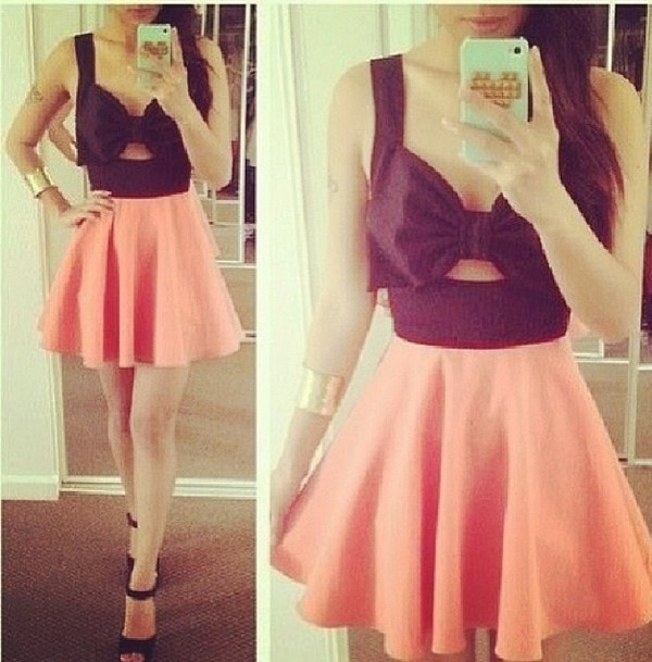 dress black and pink bow cute dress
