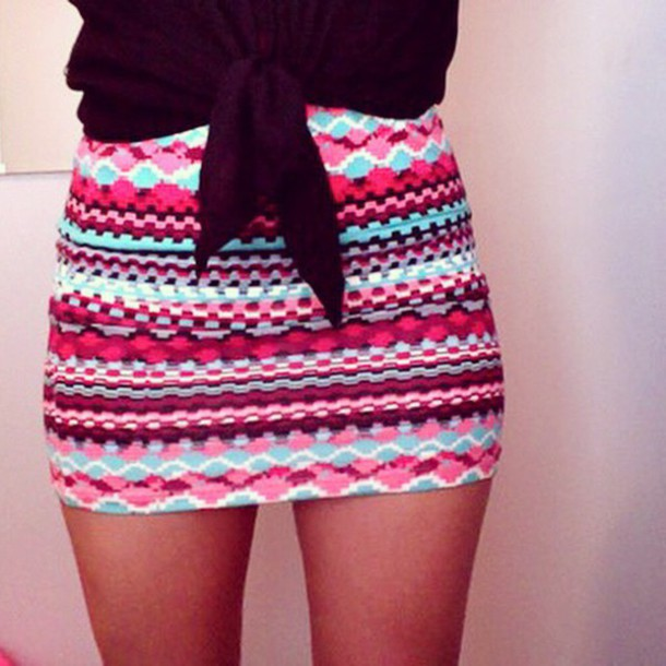 skirt blue and pink patterned  skirt