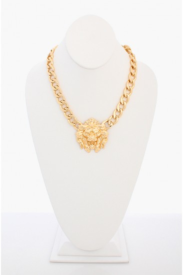 OMG King of Lion Head Necklace - Gold