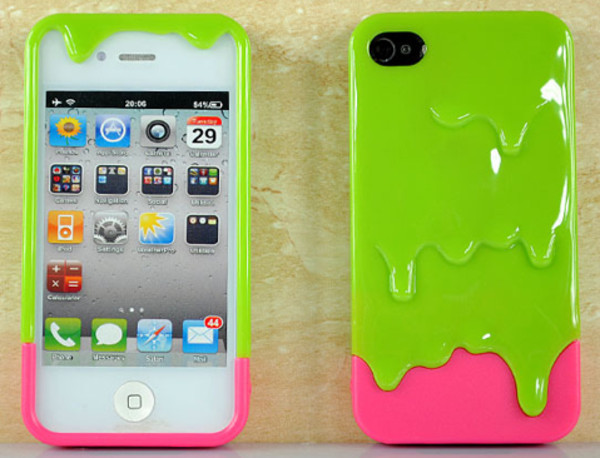 jewels iphone pink green iphone cover slime two-piece