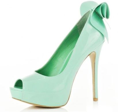 River Island light green peep toe bow shoes >> Shoeperwoman