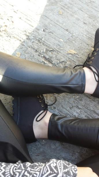shoes black shoes leather leggings