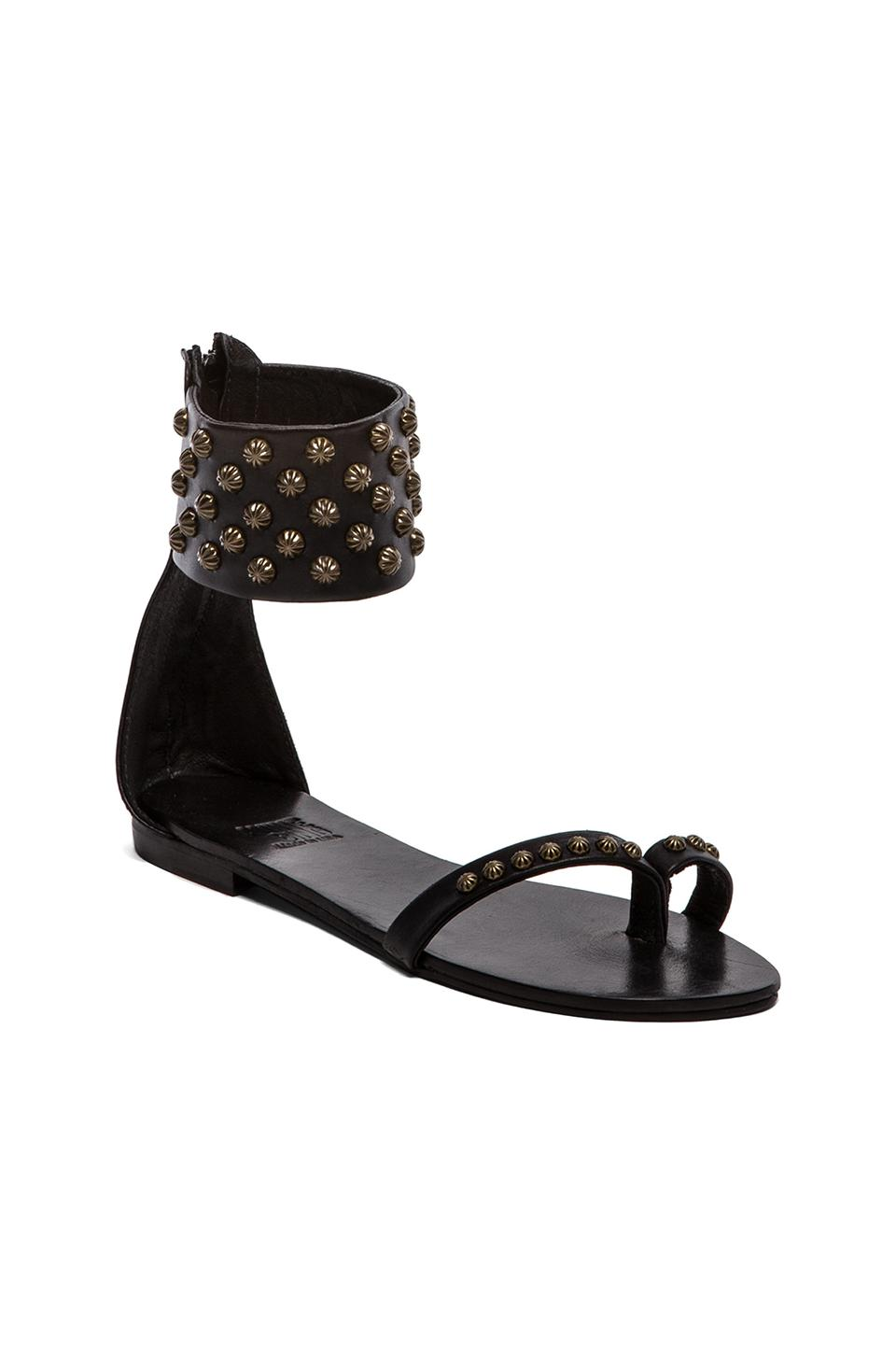 ANINE BING Ankle Cuff Sandals in Black | REVOLVE