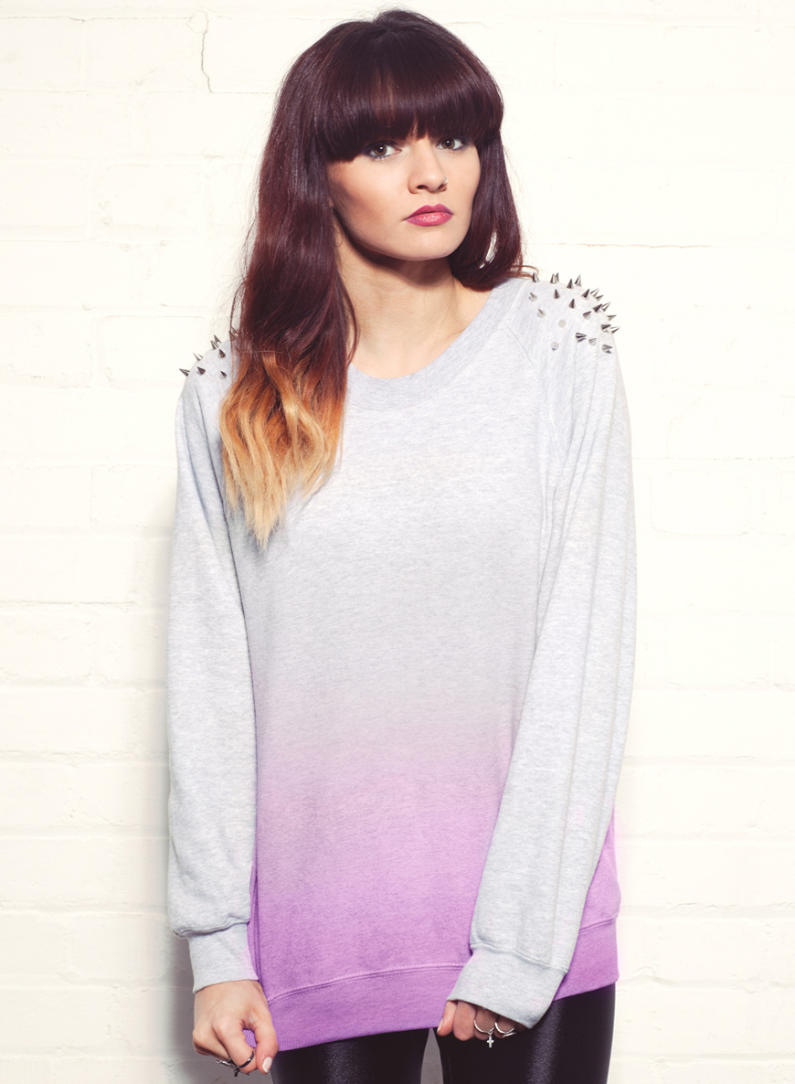 EXCLUSIVE Ombre Studded Jumper In Pink