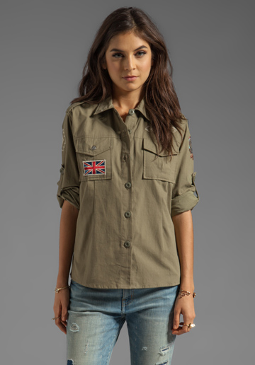 SPELL & THE GYPSY COLLECTIVE Spell Vagabond Shirt in Army Plain - Spell & The Gypsy Collective