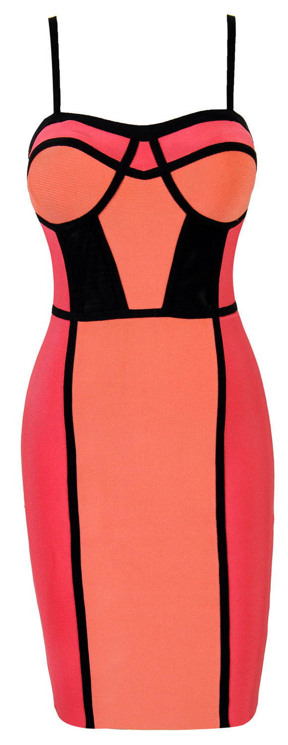2013 New Style Coraline Coral Colorblock Bandage Dress J139 Evening Dress mesh inserts at the waist-in Evening Dresses from Apparel & Accessories on Aliexpress.com