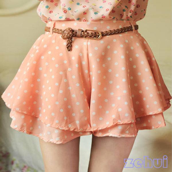 Charms Girl Pleated Polka Dot Chiffon Divided Skirt Mini Dress Lady Shorts w Bel | eBay