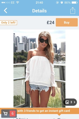 white top shirt off the shoulder floaty