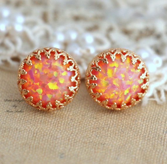 Opal Stud Peach orange coral post earrings bridesmaids by iloniti