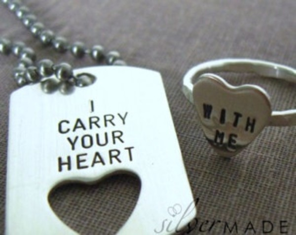 jewels necklace ring heart couple