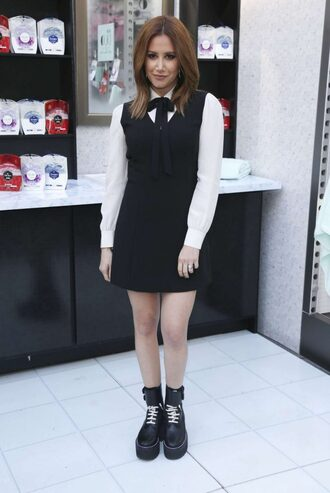 dress spring outfits spring dress ashley tisdale collared dress black and white