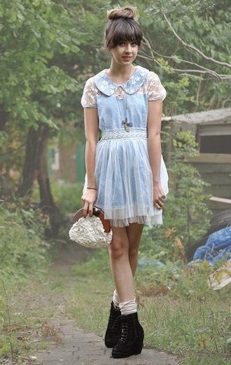 dress blue dress autilia collar