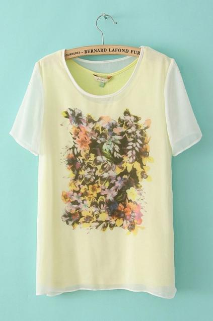 New style Loose Chiffon Stitching T-shirt - FOYMALL