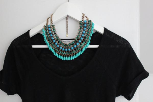 jewels necklace blue turquoise beautiful chic amazing boho hipster statement necklace