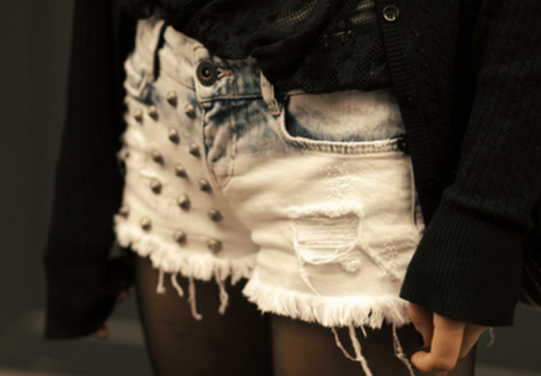 shorts bleached shorts studded shorts ombre shorts distressed denim shorts