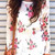 Floral Frayed Cuffs Top - White - Blouse