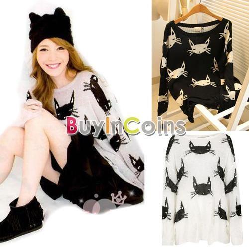 Fashion Women Loose Hollow Cat Print Hole Knit Coats Cardigan Tops Pullover | eBay