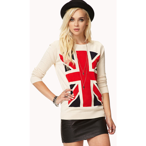 FOREVER 21 British Flag Sweater - Polyvore