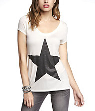 SCOOP NECK GRAPHIC TEE - STUDDED STAR | Express