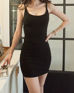 Womans Super Sexy Little Black stretch Bodycon Strap Mini Dress size 6 8 10 12 | eBay