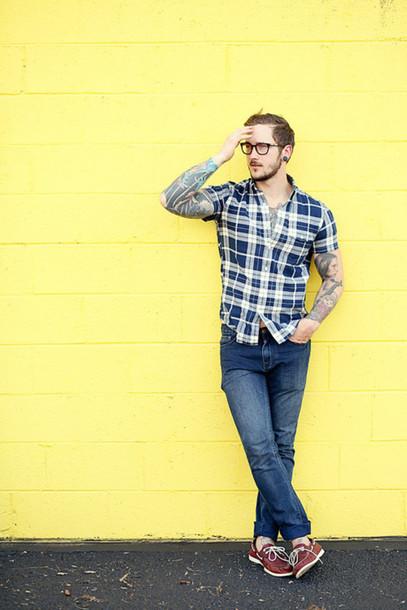 this fellow blogger hipster menswear tattoo mens shirt shirt jeans shoes