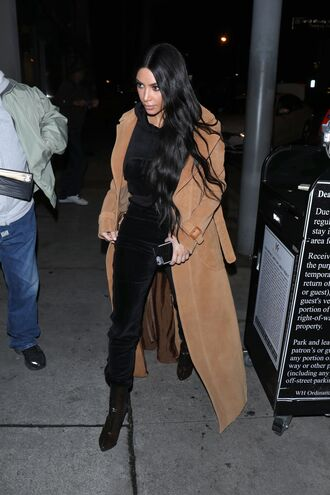coat pants top kim kardashian kardashians camel camel coat sweatpants hoodie sweater