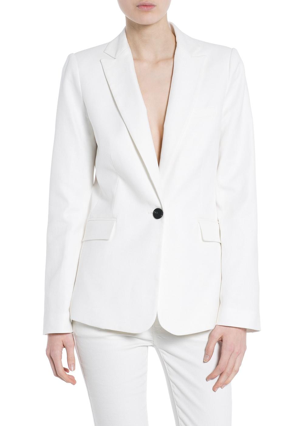 Textured linen-blend blazer -    Women - MANGO