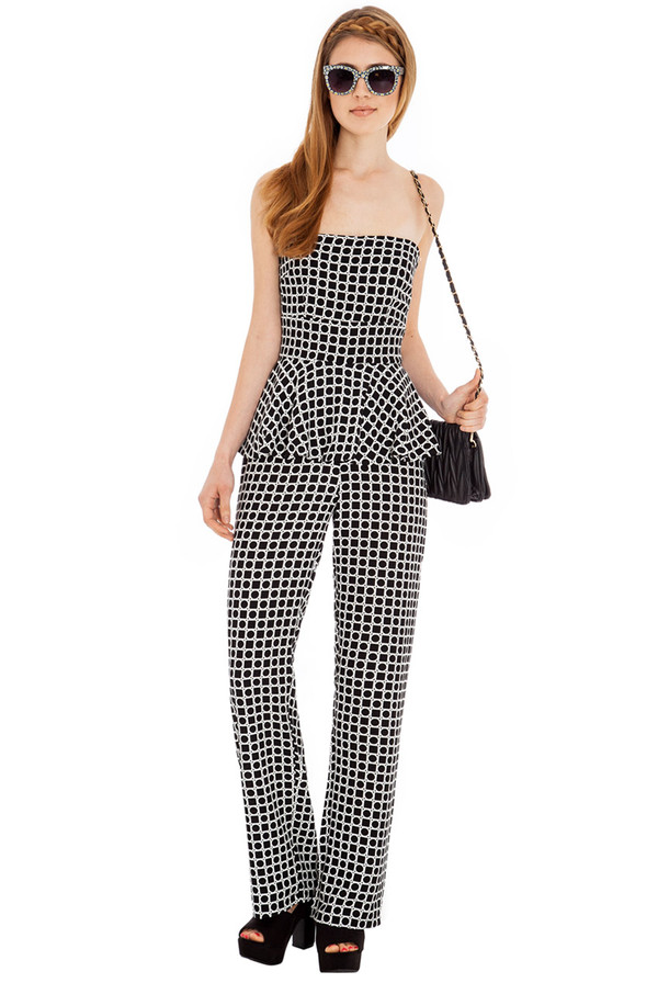 jumpsuit monochrome peplum elegant stylish evening outfits day wear