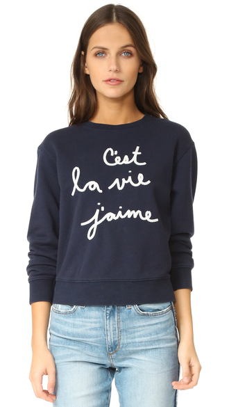 sweater fashion clothes embroidered sweatshirt chain-stitch rebecca taylor long sleeves top shopbop