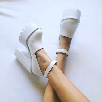 white shoes white jeffrey campbell wedges dope cool cute urban soft grunge grunge streetwear heel withstrap platform heels plateau shoes platform shoes high heels teeth shoes beautiful