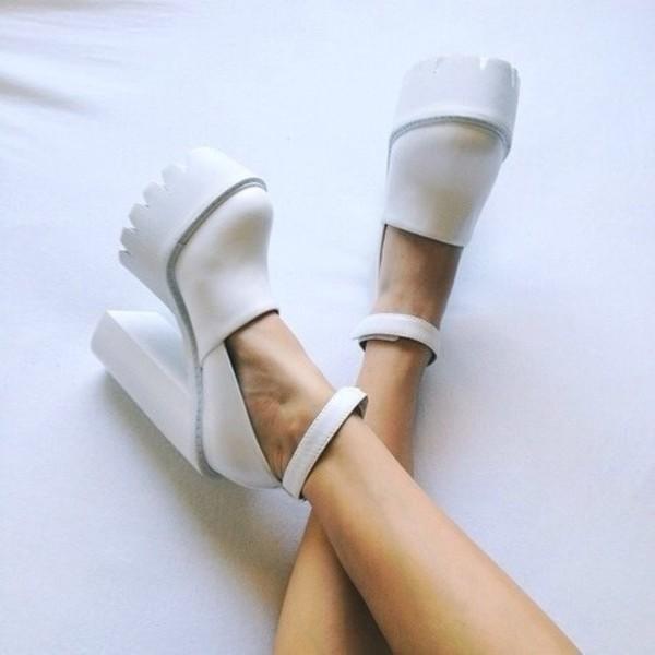 white shoes white jeffrey campbell wedges dope cool cute urban soft grunge grunge streetwear heel withstrap platform heels plateau shoes platform shoes high heels teeth shoes beautiful