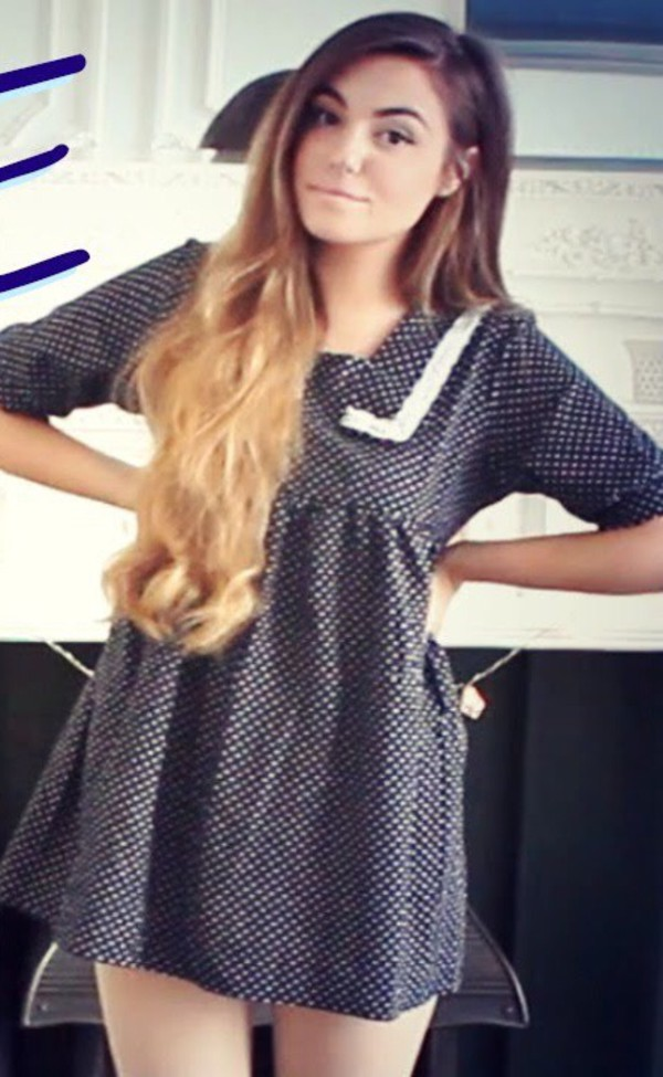 dress back to school anime cute kawaii navy collar polka dots polka dots white blue mini mini dress