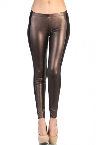 LoveMelrose.com From Harry & Molly | Bronze Leather Front Black Back Leggings