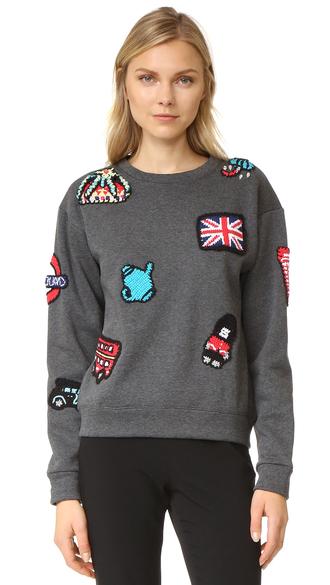 sweater fashion clothes london sweatshirt michaela buerger baseball fleece jacket grey sweater
