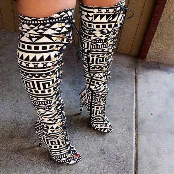 shoes black and white knee high boots heels