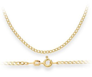 Necklace, 9ct Yellow Gold Curb Chain, 46cm Length, Model TGZ 060: Amazon.co.uk: Jewellery
