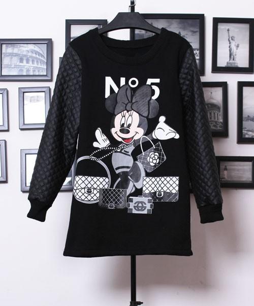 2013 Fall New Style Hot Fashion Women Casual Black Contrast PU Leather Mickey Print Mini Dress-in Hoodies & Sweatshirts from Apparel & Accessories on Aliexpress.com