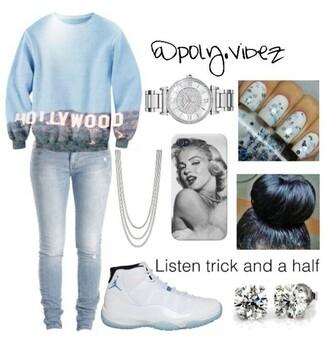 shoes blue sweater jeans cute watch cute hollywood marilyn monroe cute nails air jordens silver chain jacket bag