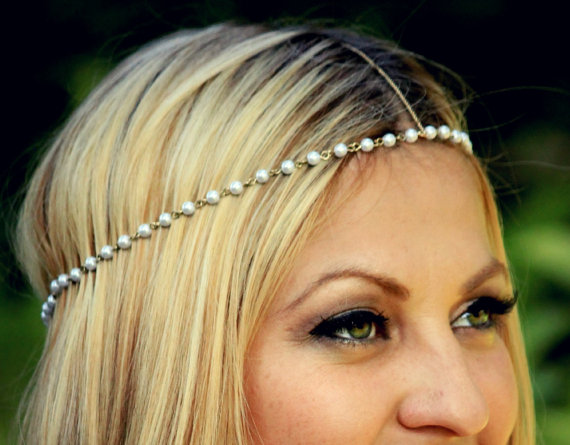 CHAIN HEADPIECE pearl and gold chain headdress head by LovMely