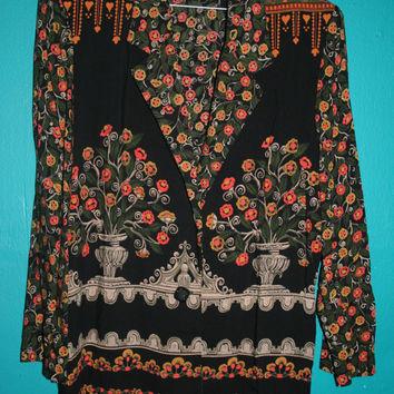 Womens Vintage Floral Grunge 90s Blazer/ Floral Bohemian Blazer / FLORAL blazer KIMONO on Wanelo