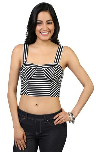 Striped Crop Top with a Smocked Back