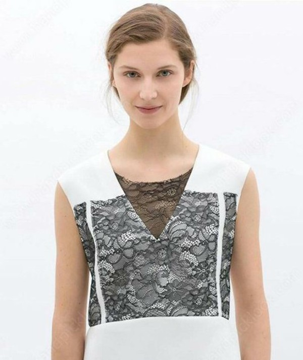 tank top lace tank top summer blouse lace top black and white black lace shirt illusion neckline