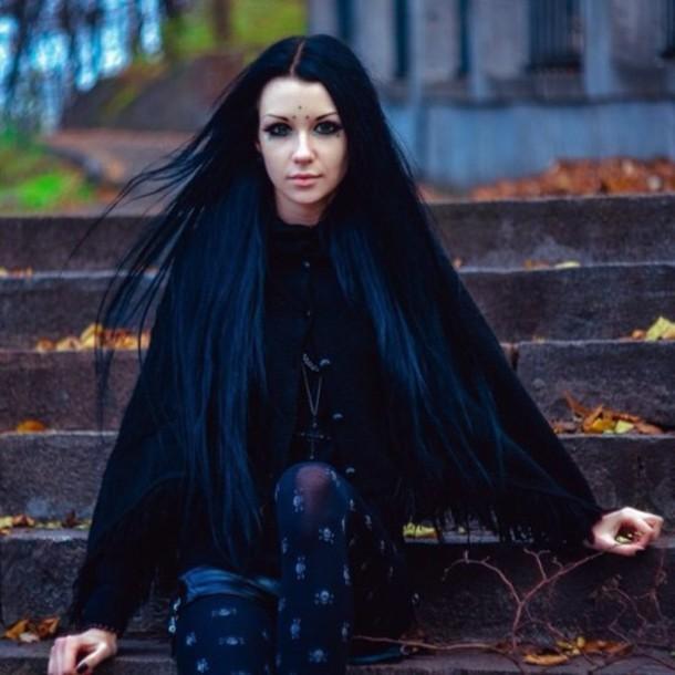 tights goth grunge black t-shirt hair dye cross