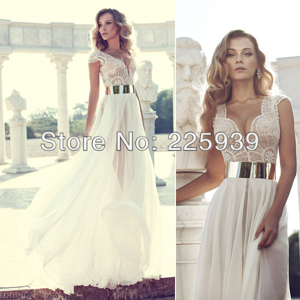 Aliexpress.com : Buy 2014 Deep V Neck Embroidery Beaded Cap Sleeves Gold Metal Belt Chiffon Julie Wedding Dresses Designer New Wedding Fashion Gowns from Reliable cap mode suppliers on Tracy Me