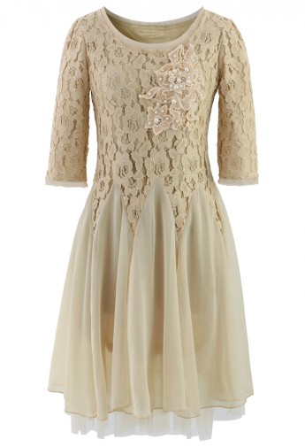 Ivory Pearly Decor Mid-Sleeve Lace Dress  - Retro, Indie and Unique Fashion