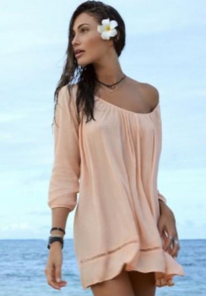 dress loose dress seashore light peach dress light peach loose beach dress long sleeves 3/4 sleeve three quarter swing