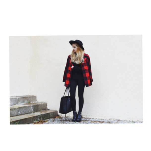 coat plaid plaid coat red coat jacket sweater outerwear winter sweater
