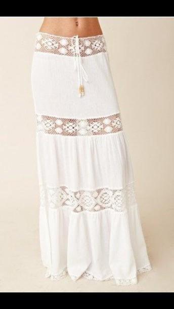 skirt boho maxi skirt white lace