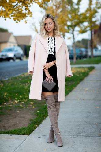 late afternoon blogger dress coat shoes jewels bag nude coat black dress fall outfits thigh high boots grey boots